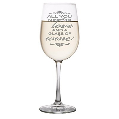 All You Need is Love and A Glass of Wine - Funny Wine Lovers Gift featuring a high quality large 18...