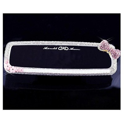 luckyshd Car Rear View Mirror withクリスタルラインストーン one size ホワイト Car-0838