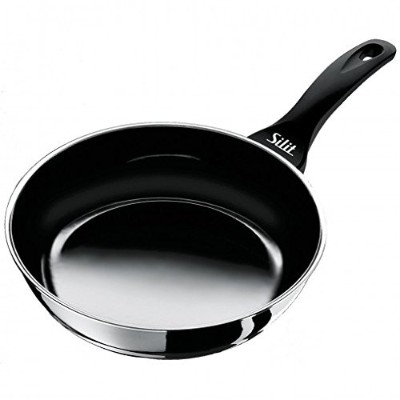 (46 x 30 x 8 cm) - Silit Frying Pan Uncoated O 28cm Black Professional Made in Germany Pouring Rim...