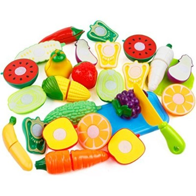 Cutting再生Fruits and VeggiesキッチンおもちゃセットPlay Food Set for Kids withナイフPretend Foodプレイセット, Early開発と教育玩具...