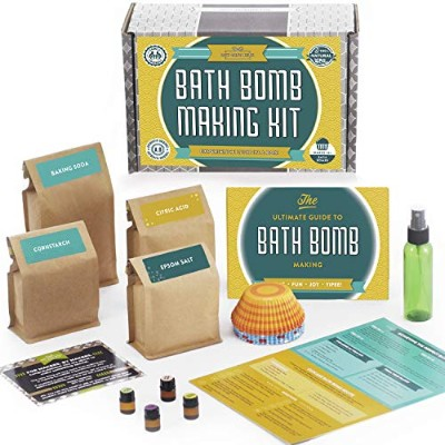 Bath Bomb Making Kit with 100% Pure Therapeutic Grade Essential Oils, (Makes 12 DIY Lush Cupcake...
