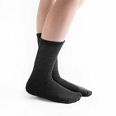 Doc Ortho Loose Fit Diabetic Crew Socks: X-Large (Black) 6 Pairs by Doc Ortho