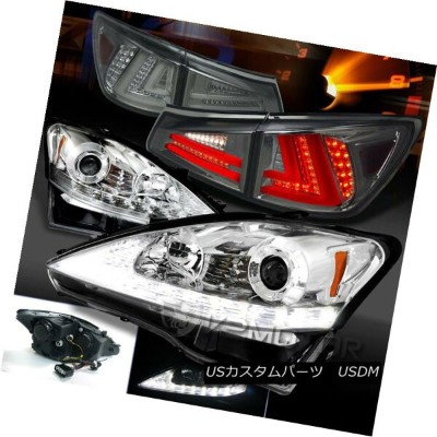 ヘッドライト 06-08 Lexus IS250 Clear LED DRL Signal Projector Headlights+Smoke LED Tail Lamps 06-08 Lexus...