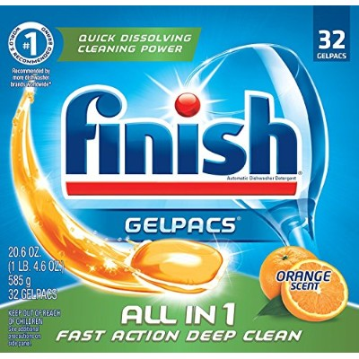 Finish All in 1, Automatic Dishwasher Detergent, Orange Scent 32 Count by Finish