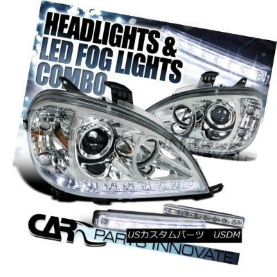 ヘッドライト 98-01 Benz W163 ML320 ML430 ML55 AMG Chrome Projector Headlights+8-LED Fog Lamps 98...
