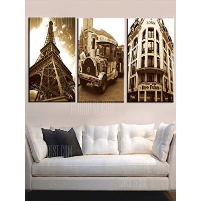 Retro Building Train Tower Printed Wall Art Canvas Paintings
