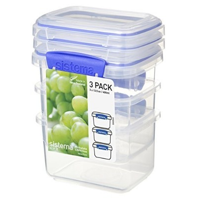 Sistema 1543 Klip It Collection Rectangle Food Storage Container, 13 Ounce (Set of 3)