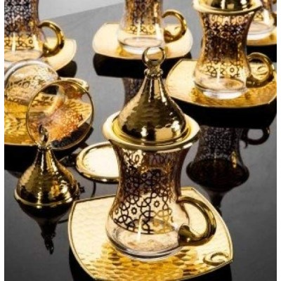 (Gold/Gilded) - Premium Gold plated Gilded Tea Set for 6 - Made in Turkey - 24 pieced set, Gilded...