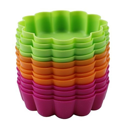 Webake 12 Pack Silicone Tart Moulds Mini Quiche Moulds