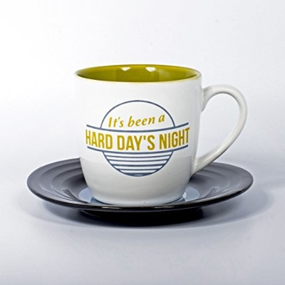 Lennon & McCartney lmmughdn Hard Day 's Night Lyrical Mug and Saucer Set,マルチカラー