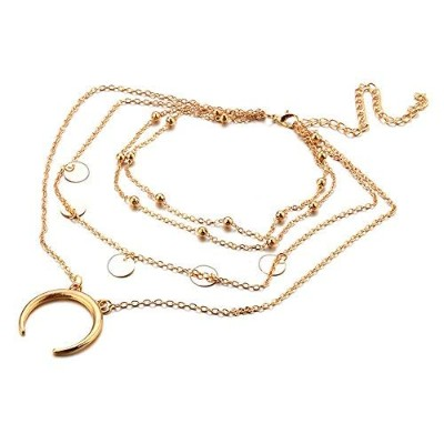 palettei Tiny Crescent Moon Multilayers necklace-halfムーンペンダントネックレスfor Woman ゴールド