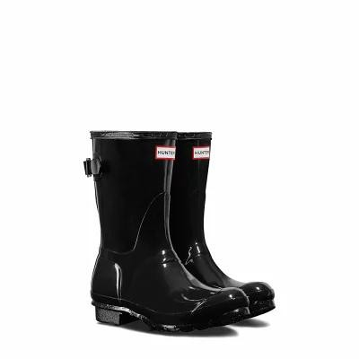 ハンター HUNTER レインシューズ・長靴 Original Short Adjustable Back Gloss Rain Boot Black