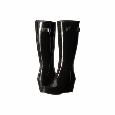 ハンター Hunter レインシューズ・長靴 Refined Tall Wedge Gloss Black