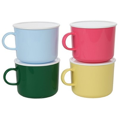 Home-X Microwave Soup Mug Set of 4 Colours with Lids (Pink, Yellow, Blue and Green)