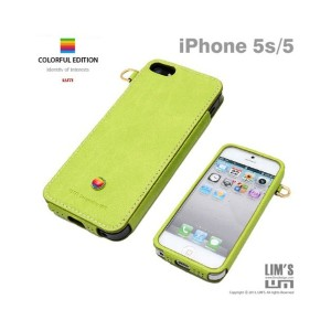 Lim`s ITALIAN COLORFUL EDITION iPhone SE/5s/5用○LEIP5ABGR Natural green パソコン・モバイル雑貨