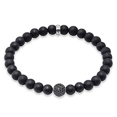 男性用ブレスレット(Thomas Sabo Men Silver Stretch Bracelet - A1353-705-11-L20.5) 並行輸入品