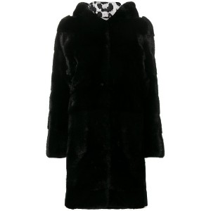 Philipp Plein fur hooded coat - ブラック