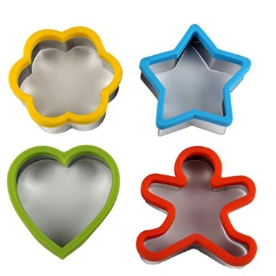 BINGMAX 4PCS Kitchen Colour Fringe Stainless Steel Mini Cookie Sandwich Cutters Cake Biscuit...