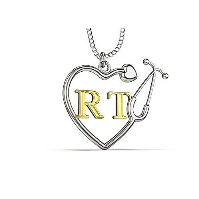 Caring Hands Gifts RT呼吸療法士 聴診器ハートネックレス RTギフト RTペンダント