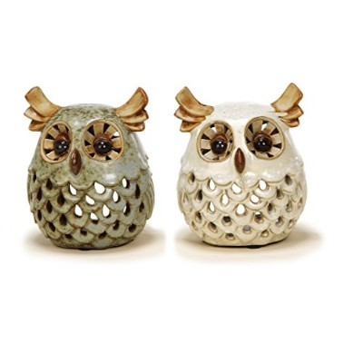 Sunny Toys 13754 Ceramic Tea Light Holder in Owl Design, Approx. 11 cm, Assorted, Green/Beige