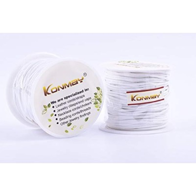 (1.5mm, White) - KONMAY 25 Yards Solid Round 1.5mm White Genuine/Real Leather Cord Braiding String ...