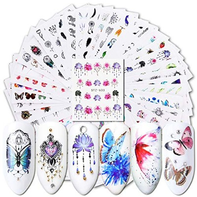 40pcs Watermark Slider Nail Stickers Decal Water Transfer Tattoo Flower Butterfly Decoration...