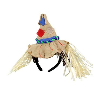 Patchwork Scarecrow Hat with Straw Hair Halloween Costume Headband Accessory,