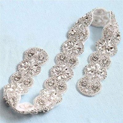 Wedding Bridal Sash Belt Rhinestone Applique Decorate with Shiny Clear Rhinestones on Hot Fix for...