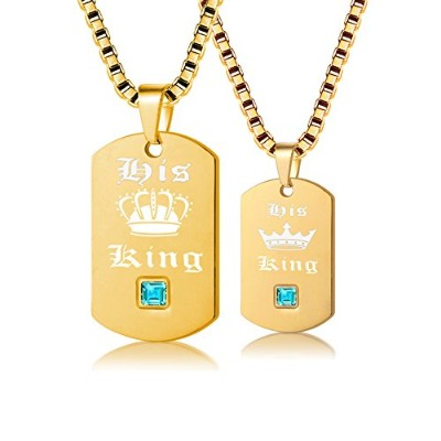 (Gold His King) - Uloveido 2 pcs Gay & Lesbian Pride Necklaces Set for Men and Women - Dog Tag...