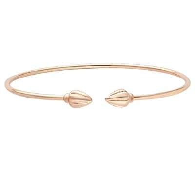 MANZHEN Elegant Bangle Both End with Cocoa Pod West Indian Double Cuff Bangle Bracelets (rose gold)