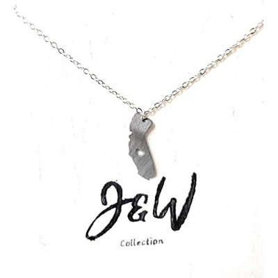 J&W COLLECTION My Heart is in California State ネックレス シルバー