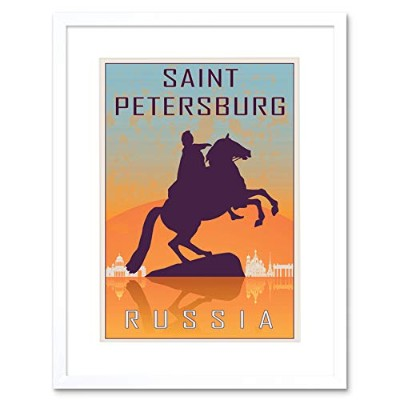 Travel St Petersburg Russia Peter Great Statue Czar Tsar Framed Wall Art Print 旅行ロシアすばらしいです像壁