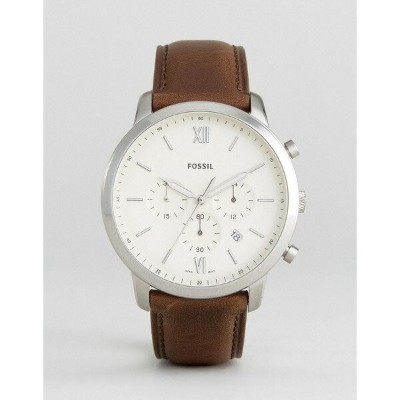 フォッシル メンズ 腕時計 アクセサリー Fossil FS5380 Neutra chronograph leather watch in brown Brown