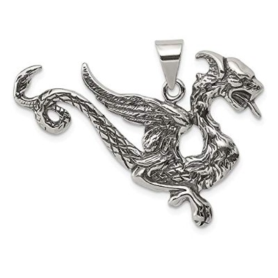 Beautiful Sterling silver 925 sterling Sterling Silver Antiqued Dragon Charm comes with a Free...