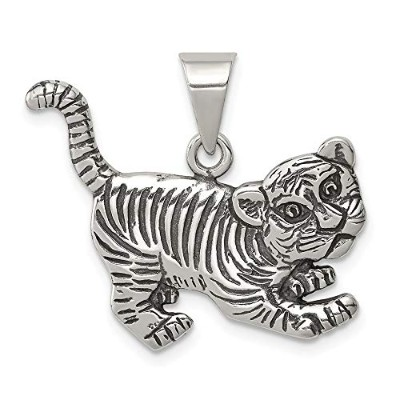 Beautiful Sterling silver 925 sterling Sterling Silver Antiqued Tiger Charm comes with a Free...