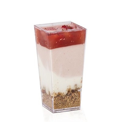 Elegant 3 oz Tall Square Dessert Cups made from Durable Crystal Clear Plastic (50 Count) -...