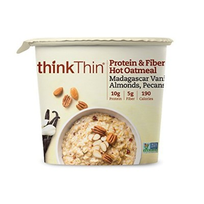 thinkThin Protein and Fiber Oatmeal, Madagascar Vanilla with Almonds and Pecans, 6 Count by...