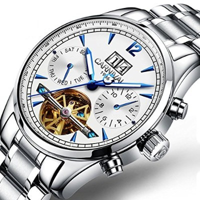 Men's Multifunction Calendar Analog Automatic Mechanical Watch Luminous Exhibition Movement Wrist...