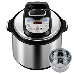 GTime Pressure Cooker、プログラム可能な12 - in - 1多機能6 Qt高圧力炊飯器と低圧力モードのデュアルnuclei withステンレススチールインナーポット、ガラス蓋、Steamingラック