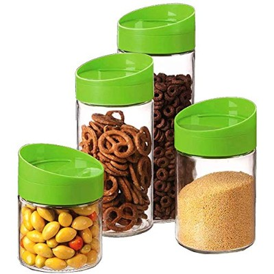 4 Pcs Glass Food Storage Jar Canister Set with Airtight Plastic Lid/Stackable / Space Saver