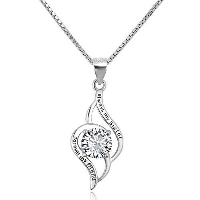 """JewelryJo""""Always My Sister Forever My Friend Birthday X'Mas ギフト 925 スターリングシルバー ネックレス ペンダント"""