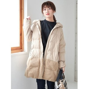 【SALE 20%OFF】グリーンパークス Green Parks 中綿ロングコート (Beige)