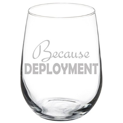 (500ml Stemless) - Wine Glass Goblet Military Army Marines Survival Glass Because Deployment (500ml...