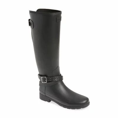 ハンター HUNTER レインシューズ・長靴 Refined Adjustable Back Knee High Rain Boot Black