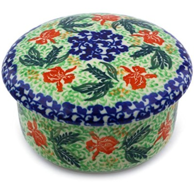 Polish Pottery Jar with Lid 13cm made by Ceramika Artystyczna (Red Hibiscus Theme)