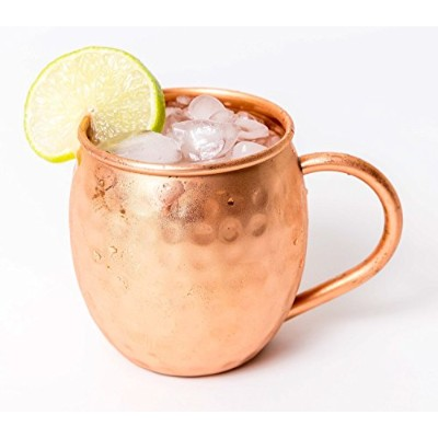 Moscow Mule Copper Mugs - Gift Box Set of 2-100% Extra Heavy Solid Copper - Hammered Finish -...
