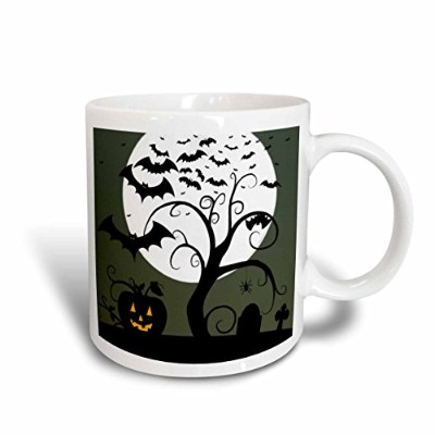 (440ml) - 3dRose mug_28916_2 Toon Spooky Tree Jack O Lanterns and Bats with Moon Ceramic Mug, 440ml