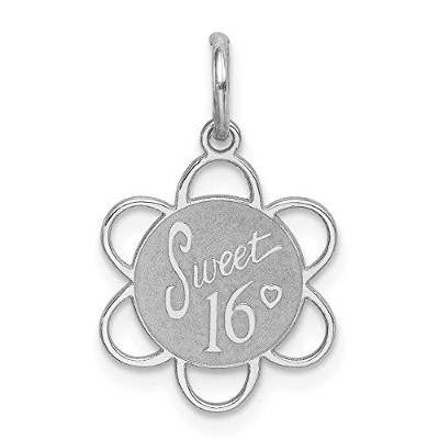 Beautiful Sterling silver 925 sterling Sterling Silver Rhodium-plated Sweet Sixteen Disc Charm...