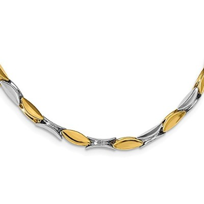 Beautiful White and yellow gold 14K White-and-yellow-gold Leslie's 14K Two-tone Polished Fancy Link...