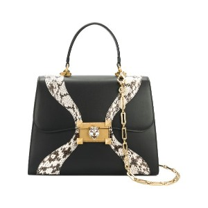 Gucci Leather and snakeskin top handle bag - ブラック